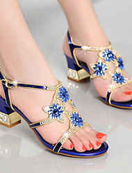 Women's Sandals Club Shoes Nappa Leather Summer Casual Dress Party & Evening Club Shoes Rhinestone Chunky Heel Gold Purple Blue2in-2