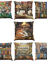 cheap -Set of 7 Lazy Cat Pattern Linen  Cushion Cover Home Office Sofa Square  Pillow Case Decorative Cushion Covers Pillowcases As a Gift