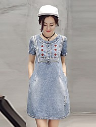 cheap -Women's Cotton A Line / Denim Dress - Solid Colored Embroidered