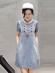 abordables -Femme Grandes Tailles Coton Trapèze / Toile de jean Robe - Brodée, Couleur Pleine Au dessus du genou