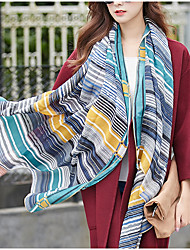 cheap -Stripe Korea Cotton and Linen Retro Scarf Shawl Thin Long Rectangle Women's Beach UV Sunscreen Bohemia Retro Print Scarves