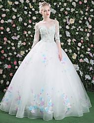 Da ballo Da principessa Scollo a Illusione Lungo Di pizzo Tulle Serata formale Vestito con Perline Ricamo Di pizzo Con strass A fasce di