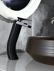 preiswerte -Traditionell Mittellage Wasserfall Keramisches Ventil Ein Loch Einhand Ein Loch Öl-riebe Bronze , Waschbecken Wasserhahn