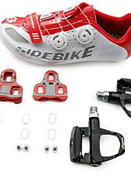 baratos -SIDEBIKE Homens Sapatilhas de Ciclismo com Travas & Pedal / Tênis para Ciclismo Nailom e Fibra de Carbono / Fibra de Carbono