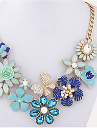 Women's Statement Necklaces Imitation Pearl Flower Imitation Diamond Alloy Unique Design Flower Style Dangling Style Flowers Floral