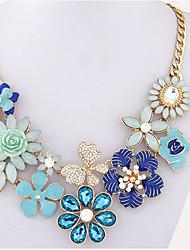 Mulheres Colares Declaração Imitação de Pérola Formato de Flor Imitações de Diamante Liga Original Floral Pingente Flores Moda Estilo