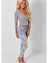 Women's Mid Rise strenchy Jeans Pants,Simple Skinny Lace Patchwork Lace