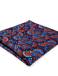 cheap -CH13 Classic Mens Pocket Square Handkerchiefs Blue Orange Paisley 100% Silk Unique Fashion Dress Casual