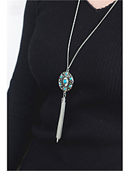cheap -Women's Tassel / Long / Logo Pendant Necklace - Personalized, Fashion, Euramerican Silver Necklace Jewelry 1pc For Daily, Casual, Outdoor