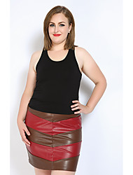 cheap -Really Love Women's Club Work Punk & Gothic Street chic Plus Size Bodycon Pencil Skirts - Color Block