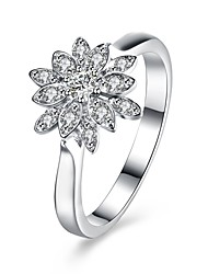 cheap -Women's Ring AAA Cubic Zirconia Silver Zircon Silver Round Circle Geometric Flower Personalized Floral Luxury Geometric Circular Unique