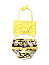 cheap -Girls' Bow Animal Print Geometric Print Swimwear, Cotton Yellow