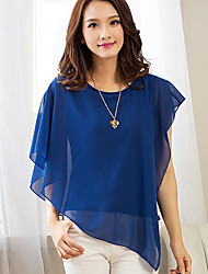 Women's Casual Sexy Summer Irregular Blouse Chiffon Shirt Solid Color Round Neck Short Sleeve Bat Shirt