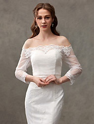 cheap -Lace Wedding Party Evening Women's Wrap With Lace Button Shrugs