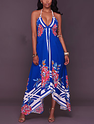 Women's Going out Beach Holiday Vintage Sexy Boho Sheath Swing Dress,Floral Halter Maxi Asymmetrical Sleeveless Polyester Spring Summer