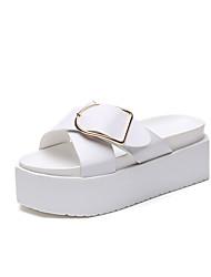 economico -Da donna Pantofole e infradito Sandali Comoda PU (Poliuretano) Estate Casual Footing Comoda Più materiali Basso Bianco Nero 7,5 - 9,5 cm