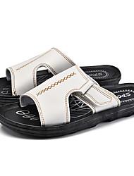 Men's Slippers & Flip-Flops Summer Light Soles PU Casual Dark Brown Black White