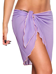 Women's Low Rise Beach Holiday Asymmetrical See-through SkirtsSexy Casual Bodycon Chiffon Pleated Bow Solid Spring Summer