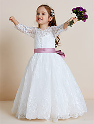 Ball Gown Floor Length Flower Girl Dress - Tulle Long Sleeves V-neck with Applique by thstylee