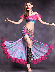 Belly Dance Outfits Women's Performance Spandex Pattern/Print 2 Pieces Short Sleeve Natural Top Skirt