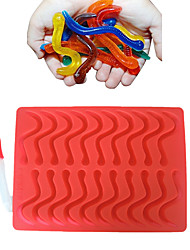 cheap -20 Cavity Snakes Worm Gummy Hard Candy Chocolate Silicone  Soap  Ice Cube Tray Mold Baby Party Cake Decorating Tools