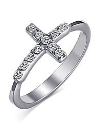 preiswerte -Damen Ring Kristall Silber Edelstahl Kreuz Kreisförmig Kreisform Geometrische Form Personalisiert Grundlegend Euramerican Modisch Simple