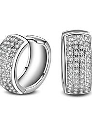 Недорогие -Серьги - Серебрянное покрытие Классика, Простой стиль, Мода Серебряный Назначение Новогодние подарки Свадьба Для вечеринок / 2pcs