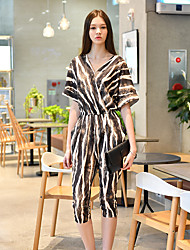 DABUWAWA Women's High Rise Party Going out Club JumpsuitsSexy Vintage Street chic Harem Mixed Color Slim Fashion Leopard Print