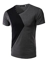 preiswerte -Herren Einfarbig Einfach Lässig/Alltäglich T-shirt,V-Ausschnitt Kurzarm Baumwolle