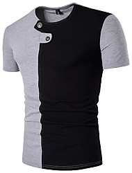 cheap -Men's Sports Casual Cotton Slim T-shirt - Color Block, Modern Style Round Neck
