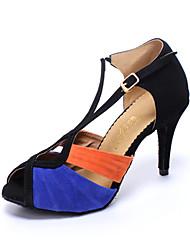 """economico -Da donna Balli latino-americani Finta pelle Sandali Sneaker All'aperto Quadrato Black / Blue 2 """"- 2 3/4"""" Personalizzabile"""