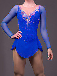 Figure Skating Dress Women's Girls' Ice Skating Dress Aquamarine Rhinestone Sequined High Elasticity Performance Leisure Sports Skating