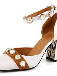 Women's Heels Comfort PU Summer Casual Walking Comfort Beading Chunky Heel White Black Ruby 3in-3 3/4in