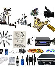 baratos -BaseKey Máquina de tatuagem Kit de tatuagem profissional - 3 pcs máquinas de tatuagem Fonte de Alimentação LED Capa Inclusa 2xMáquina Tatuagem de aço para linhas e sombras / 1 x máquina de tatuagem