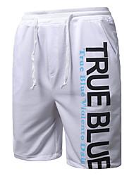 Men's Mid Rise Micro-elastic Shorts Pants,Simple Loose Letter