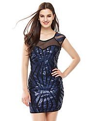 Femme Strass Moulante Robe Soirée Soirée Sexy Chic de Rue,Mosaïque Col Arrondi Au dessus du genou Manches Courtes Bleu Noir Or