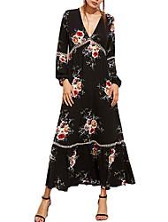 Feminino Solto Vestido,Casual Trabalho Simples Sólido Estampado Decote V Longo Manga Longa Poliéster Todas as Estações Cintura Baixa