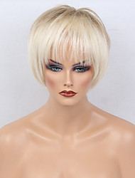 abordables -Pelo humano pelucas sin tapa Cabello humano Recto Heterosexual Corte Bob Con flequillo Pelo Ombre Corta Hecho a Máquina Peluca Mujer