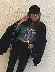 abordables -Veste Femme Quotidien Sortie Rétro Actif Hiver Automne Manches longues Col Arrondi Court Coton Imprimé