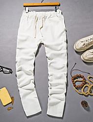 abordables -Hombre Clásico Brillante Moda Tiro Medio Rígido Corte Ancho Chinos Pantalones de Deporte Pantalones,Un Color Verano
