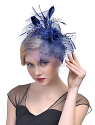 cheap -Tulle Feather Net Fascinators Headwear with Floral 1pc Wedding Special Occasion Headpiece