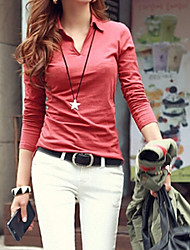 Women's Solid Red/White/Black/Gray Blouse , Round Neck Long Sleeve