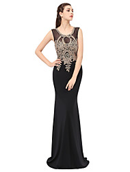cheap -Mermaid / Trumpet Jewel Neck Floor Length Lace Formal Evening Dress with Appliques by Sarahbridal