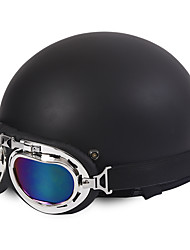 abordables -casque de moto demi-face style harley souple abs casque de moto de rue mat couleur noire