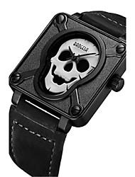 Herrn Modeuhr Einzigartige kreative Uhr Armbanduhr Quartz Leder Band Totenkopf Schwarz Braun