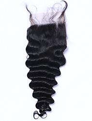 Недорогие -Классика Свободные волны 4x4 Закрытие Швейцарское кружево Натуральные волосы Бесплатный Часть Средняя часть 3 Часть Высокое качество