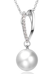 Women's Pendant Necklaces Chain Necklaces Imitation Pearl AAA Cubic Zirconia Oval GeometricImitation Pearl Zircon Silver Plated Gold