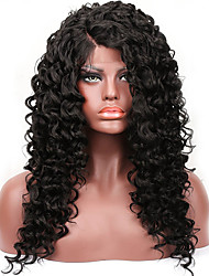 cheap -Long Kinky Curly Synthetic Lace Front Wigs For Women High Temperature Natural L Part Artificial Wig In Black Color