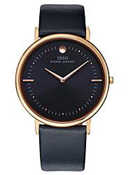 abordables -Hombre Cuarzo Reloj de Pulsera Gran venta Cuero Auténtico Banda Encanto Casual Moda Negro