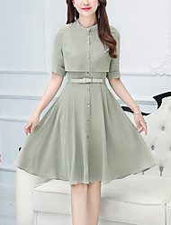 Women's Going out Casual/Daily Holiday Vintage Street chic Sophisticated Sheath Dress,Solid Stand Knee-length ½ Length Sleeve Others